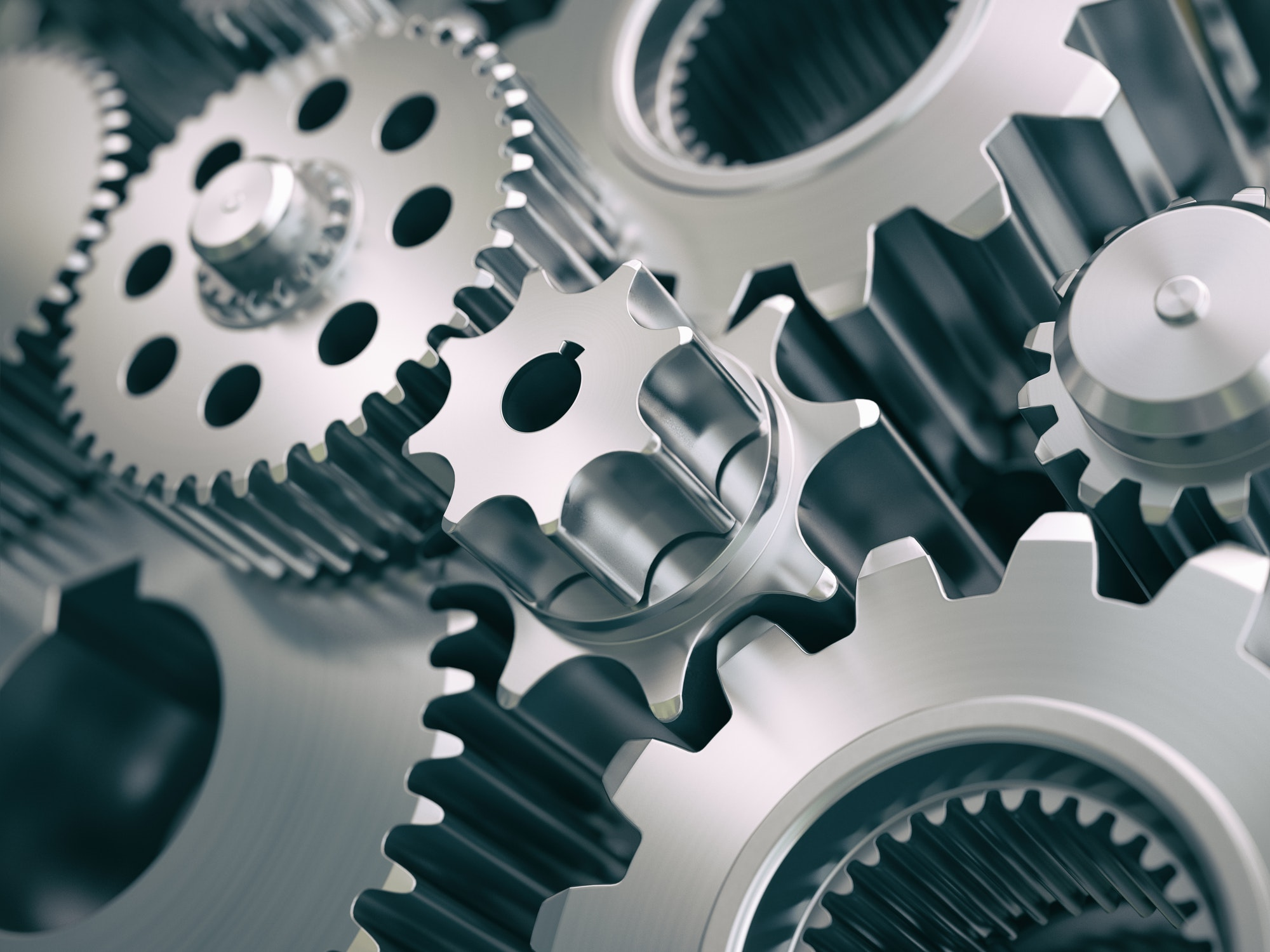 Gears and cogwheels engine industrial background.