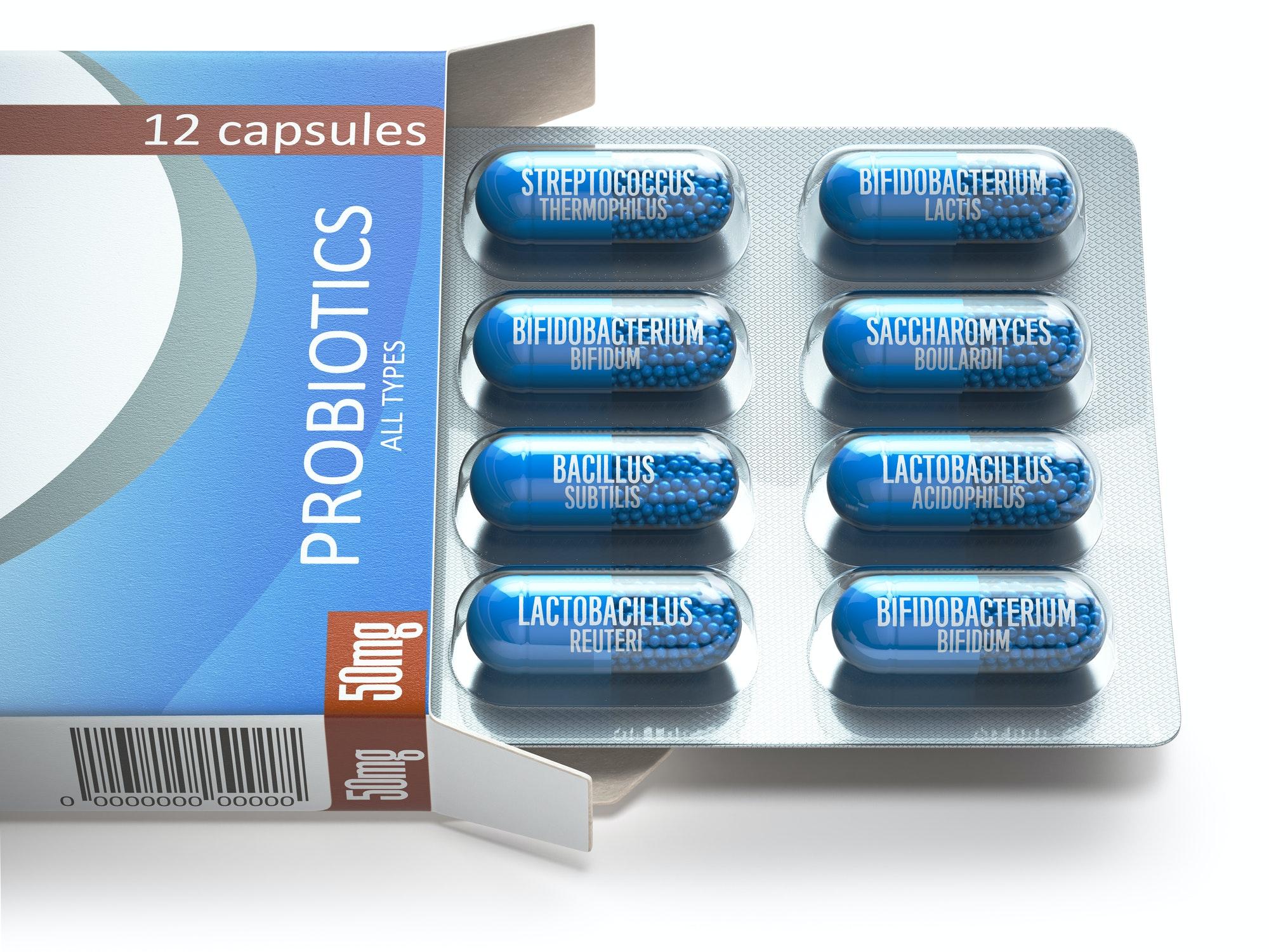 Probiotics. Blister box with all types of probiotics capsules. P